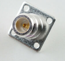 Silver N Female Chassis Mount 4 Hole Connector - USA CoaxParts