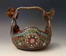 Antique Middle Eastern Russian Persian Style Gilt Silver Cloisonne Enamel Bowl
