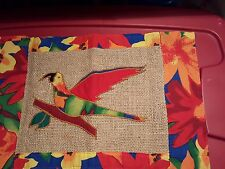 Two heavy burlap applique Parrot / Tulip placemats 13 x 19 1/2 vtg