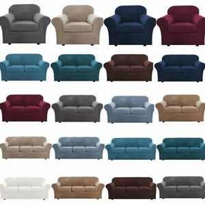 1/2/3 Seater Sofa Covers Velvet High Stretch Sofa Slipcover With Cushion Covers