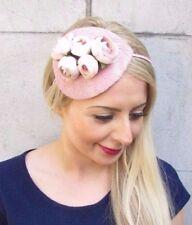 Blush Light Dusky Dusty Nude Pink Rose Flower Fascinator Races Headband Vtg 3895