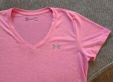 Womens Under Armour Heat Gear Pink Short Sleeve Shirt Size L