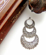 SILVER (2 Pieces) Gypsy Boho Filigree Earring Drops Hoops Stamping (E-600 Dap)