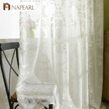 NAPEARL 1 Panel Embroidered Sheer Curtain Home Textile White Window Tulle Drapes