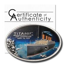 Cook Islands Titanic 100th Anniversary Embedded Piece of Coal $5 2012 Silver Cro
