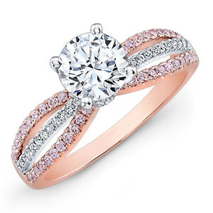 1.20 Ct Round Moissanite Anniversary Ring 14K Wedding Solid Rose Gold Size 4 5 6