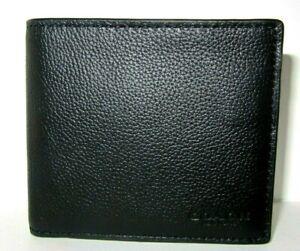 Coach Men's F75084 Double Billfold Wallet In Black Sport Calf Leather NWT $150