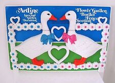VTG 1980's Artline Heart Love Geese Plastic Lawn Garden Fence Decoration, Kitsch