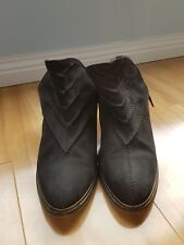 Black mid heels woman ankle leather boot size 38