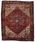 Vintage Tribal Oriental Heriz Rug, 9'x11', Red/Black, Hand-Knotted Wool Pile