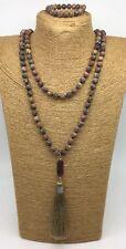Fashion Gift Set leopard skin jasper stone crystal pendant necklace + Bracelet