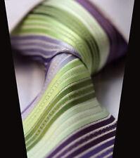 Cravate hommes SOLDES satin Citron Vert LILAS MAUVE & blanc à rayures Mariage