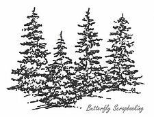 Four Simple Pine Trees Wood Mounted Rubber Stamp NORTHWOODS F2918 New