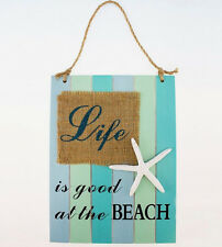Wood Slat Sign LIFE IS GOOD AT THE BEACH Nautical Wall Wood Plaque Coastal Decor