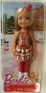 NEW Barbie Christmas Chelsea Blonde Doll in Gingerbread Dress