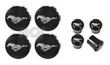 2015-2020 Mustang Chrome Running Horse Wheel Center Caps & Black Valve Stem Caps