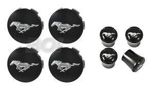 2015-2021 Mustang Chrome Running Horse Wheel Center Caps & Black Valve Stem Caps