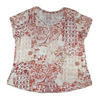 Lucky Brand Women 2X Scoop Neck Short Sleeve Boho T Shirt Tee Top Pink White