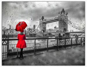 A Girl With Umbrella and under rain Tower Bridge Picture Print On Framed Canvas