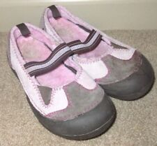 Youth Junior Girls Size 2 CROCS Dawson Mary Jane Pink Brown Suede Faux Fur Clogs