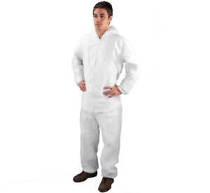 """Painters SHIELD Coverall With Hood Polypropylene Non-Woven White  44-46"""" DC03"""