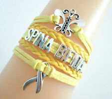 Charms Suede Leather Braided Bracelet Butterfly Spina Bifida Cancer Ribbon