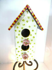 Whimsical Hand Painted Wood Birdhouse Metal Stand Striped Dots World Mrkt Knobs