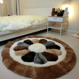 Round Alpaca fur rug flower, Luxurious Alpaca fur rugs custom, round area rugs