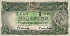 AUSTRALIA 1 POUND BANKNOTE Coombs Wilson NICE CIRC LIGHT CREASES, NO TEARS/HOLES