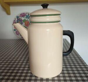 Vintage Enamel Ware Kockums Sweden Large 2l Coffee Pot cream green Stove Top