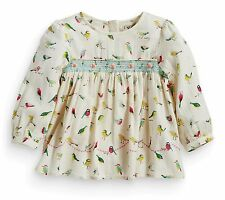 ВNWT NEXT Tops Tunic • Bird Print Embroidered Blouse • 100% cotton • 9-12 Months