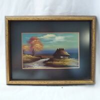 Framed Miniature Landscape Oil Painting of River Pines House POSTCARD 1920's ll