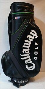Vintage Callaway Big Bertha Leather Golf Bag 6-Way Black With Green Trim