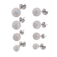 PAIR White Opal Crystal Shamballa Disco Ball Stud Earrings 925 Sterling Silver