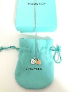 Tiffany & Co. Return to Mini Double Heart Pendant Necklace Enamel Pink w/BOX