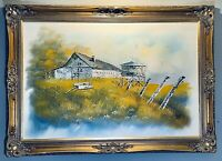 Stunning Original Oil on Canvas The Barn By S. Hills In Gold Framed And Signed