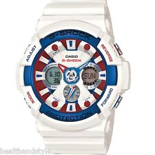 Casio G-Shock GA201TR-7A White Tri-Color Marine Analog Digital Watch GA-201TR-7A