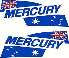 Mercury Australia Flags Mirrored Motor Hood Fishing Boat Decal Sticker 500x200ea