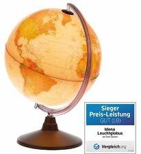 Idena 569904 - Geografischer Globus mit Licht und Lupe, 30 cm  Karte Weltkarte