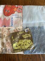 """Vintage Antique Quilt Blocks Cotton Fabric Squares 6"""" Raymar floral blue cartoon"""
