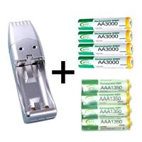 Portable USB Battery Charger + 4 AA & 4 AAA Ni-MH Rechargeable batteries