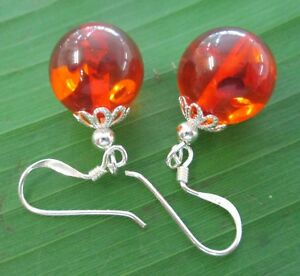 100% 925 sterling silver 12mmx30mm Honey Amber  Hook Earrings GIRL WOMEN