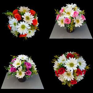 Grave Artificial/silk flower pot Summer arrangement  Memorial Pot Grave funeral