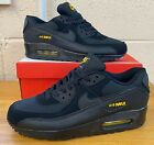 Nike Air Max 90 SE Essential BLACK YELLOW GOLD LEATHER Trainers Mens UK SIZES
