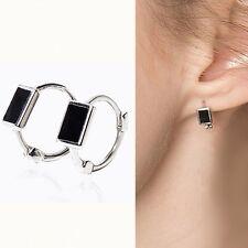 Solid 925 Sterling Silver Black Enamel Cuboid Square Hinged Huggie Hoop Earrings