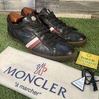 UK10 MONCLER Monaco Low Top Leather Trainers - Rare Italian Designer Shoes EU44