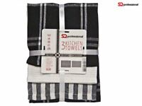 3pc Cotton Tea Towels Set Kitchen Dish Cloths Cleaning Drying Black