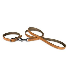 """Dog Collar Dog Lead 1/2"""" Collar and Lead Set Real Leather for Small Dogs"""