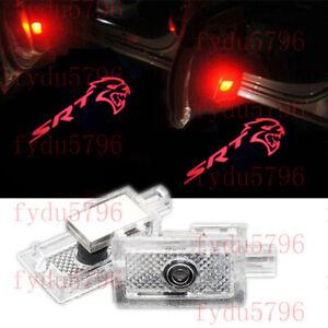 2x red SRT Hellcat Logo Car LED Laser Door Courtesy Light For Dodge Chrysler 300