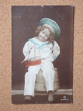 R&L Postcard: Studio Portrait of Boy in Sailor Uniform with Toy Ship, Rotary